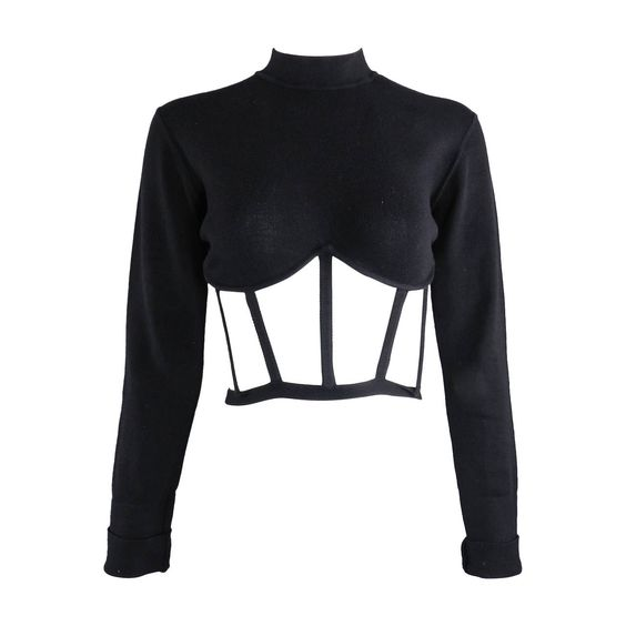 Jean Paul Gaultier Iconic Vintage Cage Crop Top | From a collection of rare vintage shirts at https://www.1stdibs.com/fashion/clothing/shirts/