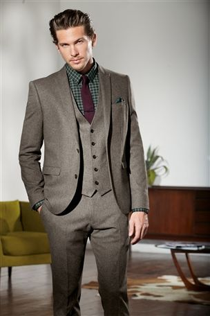 Stone Donegal Skinny Fit Suit from Next, total cost £140 | Details