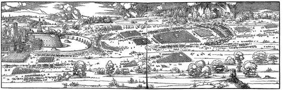 1527 Albrecht Dürer (1471 – 1528) Seige of a Fortress.  From his book on fortifications, Etliche underricht zu Befestigung der Stett, Schloss und Flecken.  http://www.cca.qc.ca/en/collection/1352-albrecht-durer-the-siege-of-a-fortress  http://www.philamuseum.org/collections/permanent/272263.html?mulR=1752  http://www.mfa.org/collections/object/siege-of-a-fortress-393376