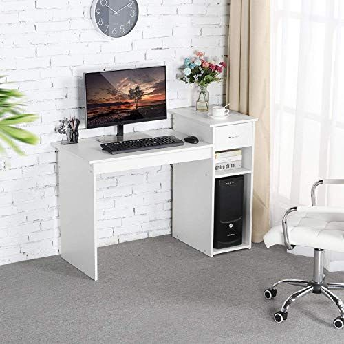 New Topeakmart Small White Computer Desk Drawers Printer Shelves Wood Study Writing Table Compact Pc Laptop Workstation Small Space Home Office Online Tot In 2020 White Computer Desk Home Office