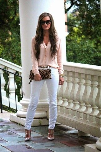 Women's Pink Button Down Blouse, White Skinny Jeans, Beige Studded Leather Pumps, Tan Leopard Suede Clutch: