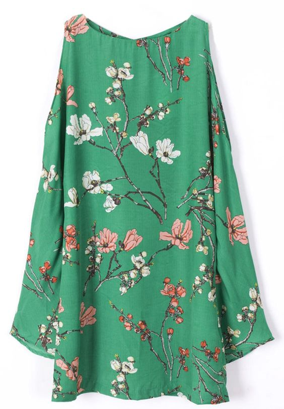 Green Cut Out Bell Sleeve Flowers Print Dress. Love the asian style print and drapey cut