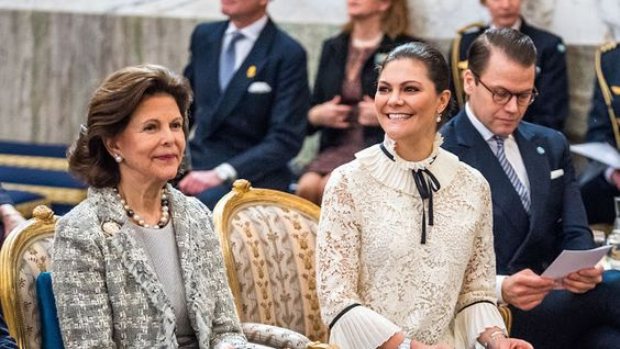 5 February 2018 - Swedish Royal Family attends a seminar at the Royal Palace - blouse by H&M, bag by Valentino