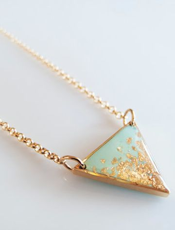 mint triangle necklace