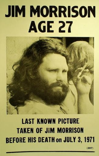 """The Doors.  Last known photo of Jim Morrison before his death. - this is the third """"last photo of Jim"""" that I've found....not sure which one is really the last..."""