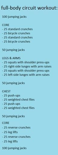 Full-body circuit workout. Takes about half an hour!