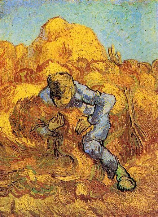 Vincent van Gogh: The Sheaf-Binder (after Millet).  Oil on canvas.  Saint-Remy: September, 1889.  Amsterdam: Van Gogh Museum.  (Info from vggallery.com)