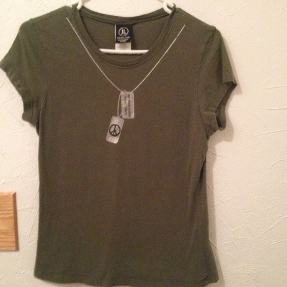 Dog tag t-shirt Army green t-shirt with silver dog tag design   All cotton.  The tag says XL so it must be a youth size   I usually wear size size small and it's a little tight for me. Smoke free/pet friendly home Jerryleigh Tops Tees - Short Sleeve