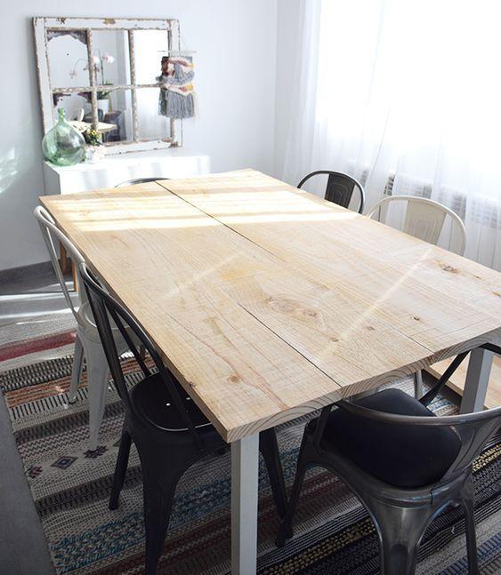 Cómo hacer una mesa de comedor rústica   Mesas de comedor ...