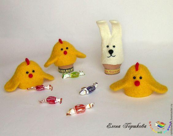Купить Подарки и сувениры к Пасхе. Шапочки для яиц - цыплята и зайчики - желтый, белый, цыпленок, Пасха