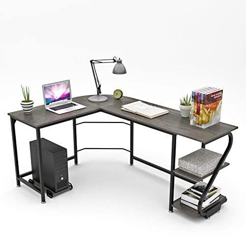 Buy Weehom Reversible L Shaped Desk Shelves Modern Corner Gaming Computer Desks Home Office Wood Metal Online In 2020 Computer Desk With Shelves Computer Desks For Home Modern Shelving