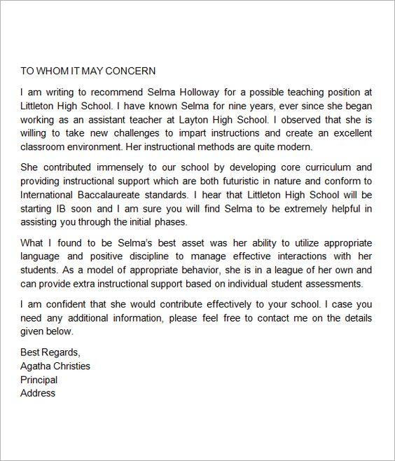 Teacher recommendation letter help