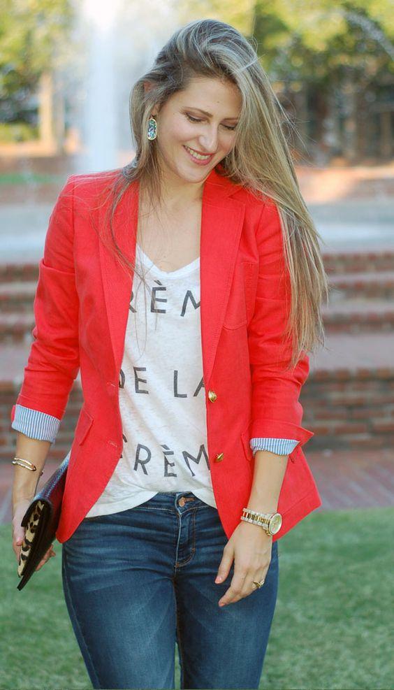 Teodora's Lookbook - red J. Crew blazer, dark WHBM jeans and graphic tee