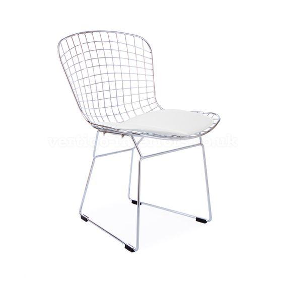 Products | Vertigo Interiors USABertoia Style Wire Side Chair - White Seat Pad | Vertigo Interiors USA