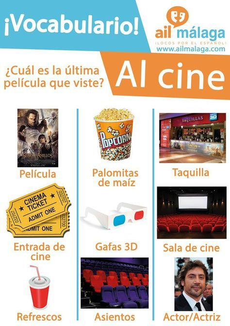 Vocabulario Cine Learning Spanish Vocabulary Learning Spanish Spanish Language Learning