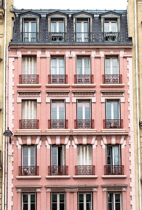 Pink Building in Saint Germain, Paris: