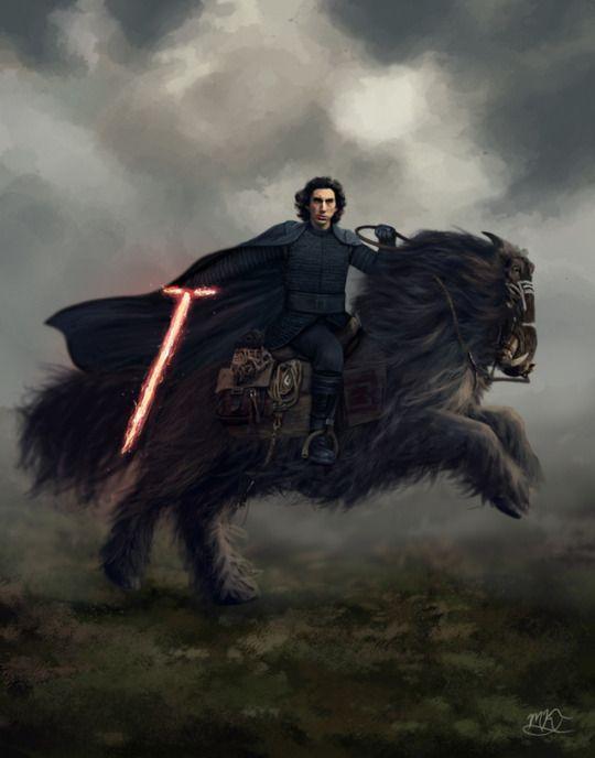 Kylo Ren Rides An Orbak Star Wars Fan Art Star Wars Art Star Wars Kylo Ren