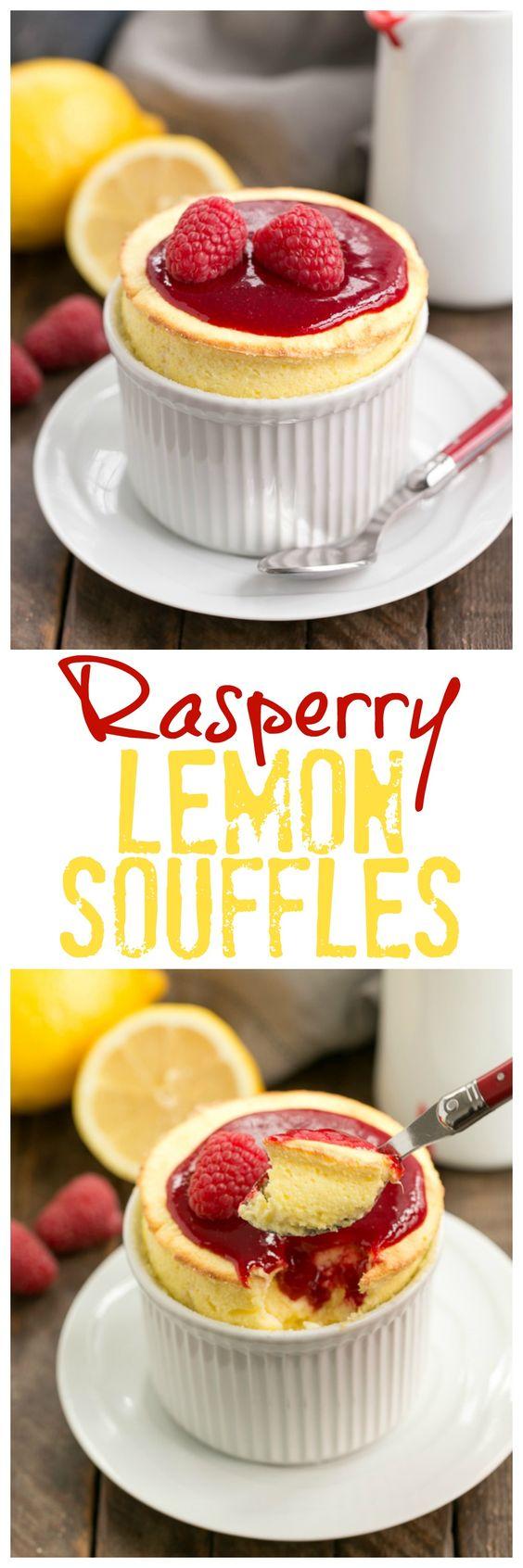 Raspberry Topped Lemon Soufflés | An exquisite citrus dessert @lizzydo