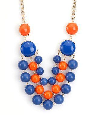 Royal Blue & Orange La Ti Dottie Necklace