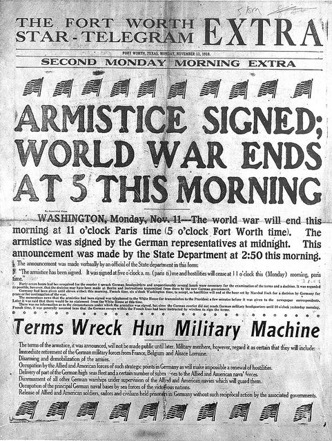 FWST Armistice Signed, Nov 11, 1918 by Special Collections-UTA, via Flickr