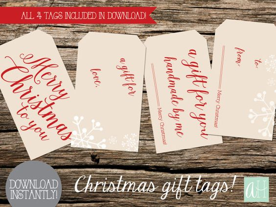 Printable Small Red and Tan Gift Tags for Christmas Goodies: Instant Download