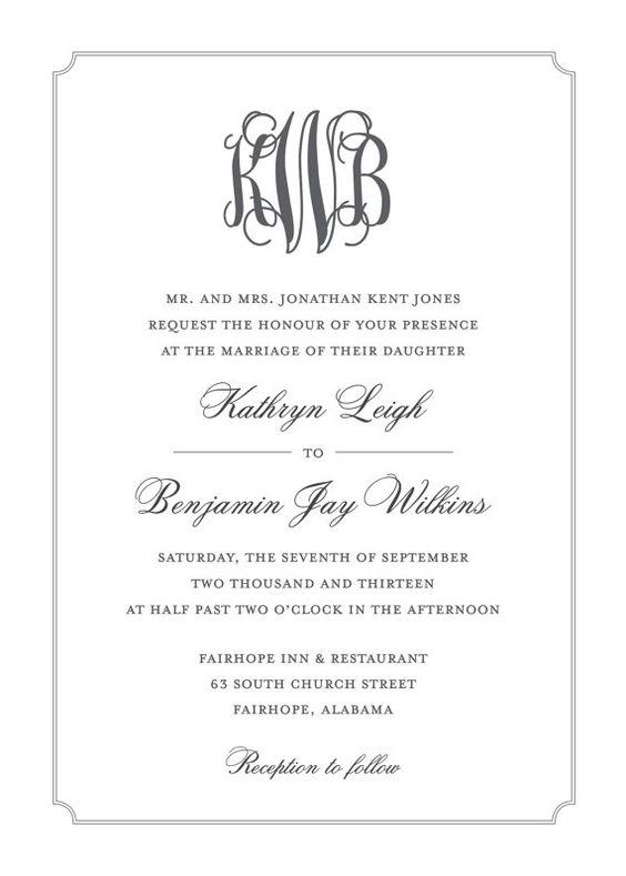 Monogram Wedding Invitation Wedding Printable Traditional Megan 39 S W