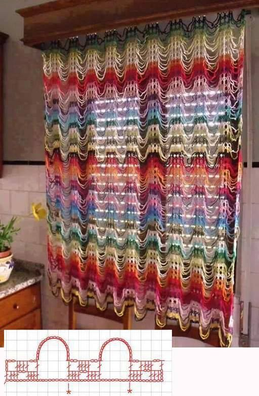 Link To Free Crochet Curtain Pattern Dont Like The Multi Colour But In White Would Be Nice For My Kitchen