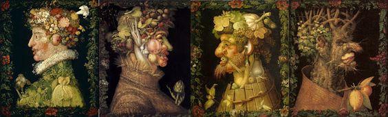 La serie de las cuatro estaciones de 1573: La Primavera, El verano, El Otoño y El Invierno /  Arcimboldo