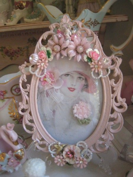 Silver Frame Painted Pink And Embellished Repurposed