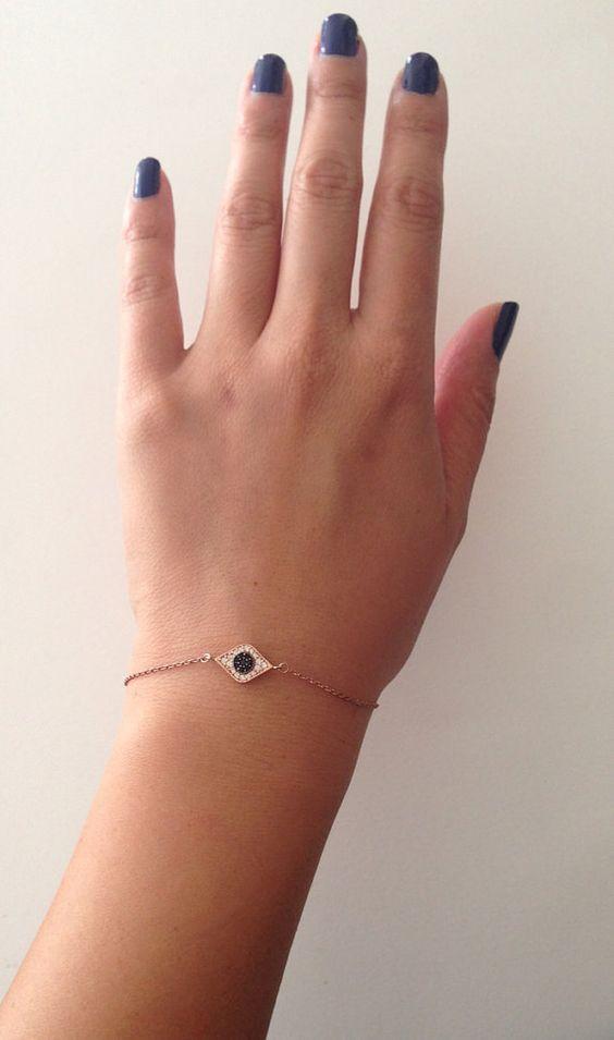 Pave Rose Gold Evil Eye Bracelet by LolasJunk on Etsy, $45.00
