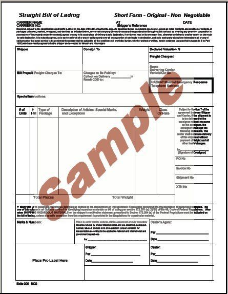 Printable Sample Bill Of Lading Pdf Form – Sample Bill of Lading