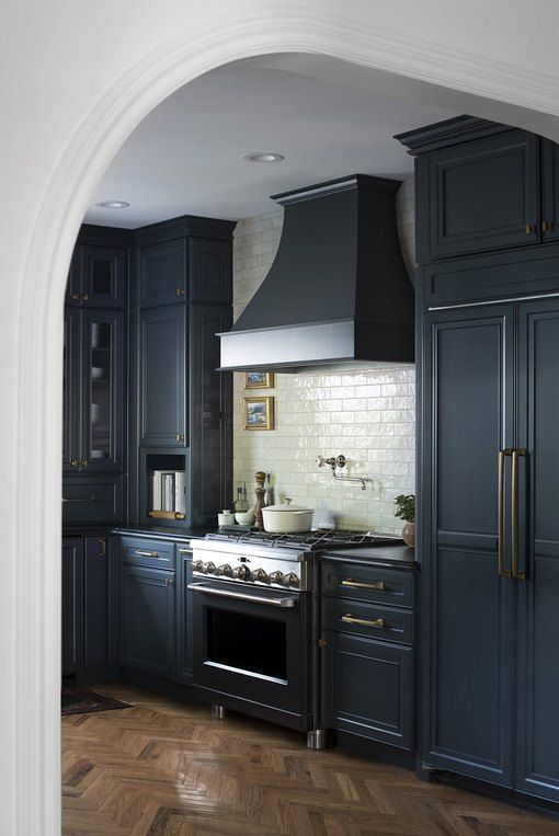 Navy Blue Kitchen Ideas Inspiration And Paint Colors Hunker In 2020 Dark Grey Kitchen Cabinets Kitchen Cabinets Kitchen Remodel Design
