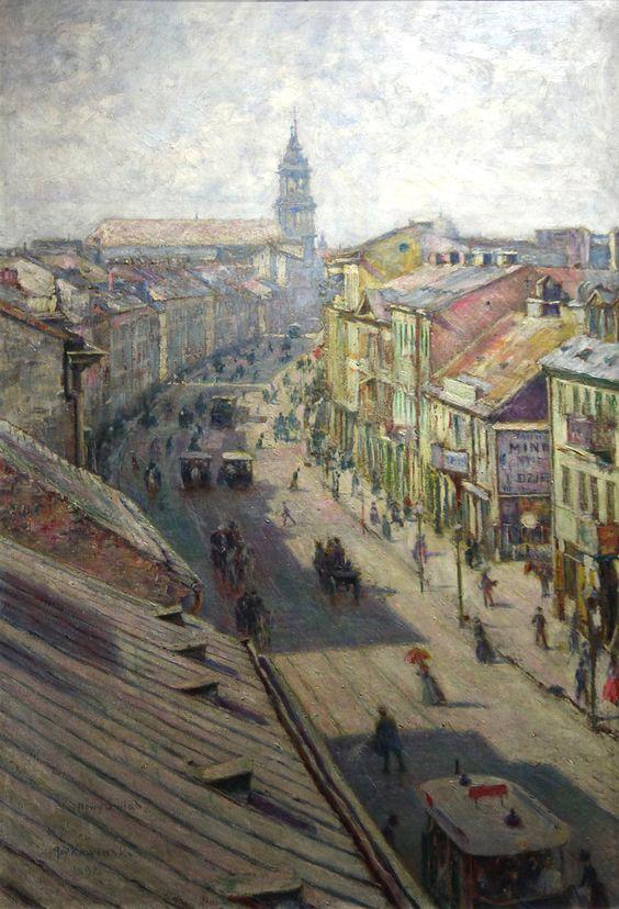 Władysław Podkowiński (Polish, 1866-1895), Ulica Nowy Świat w Warszawie w dzień letni [Nowy Swiat Street in Warsaw on a summer's day], 1892. Oil on canvas, 120 x 84 cm.: