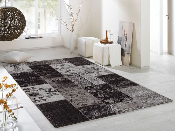 DALLIANCE ALLOVER Vintage Patchwork Velour Teppich in grau, viele - teppich für küche