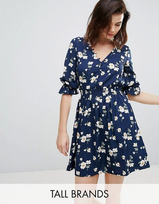 Influence Tall | Influence Tall V Neck Floral Tea Dress With Gathered Sleeve