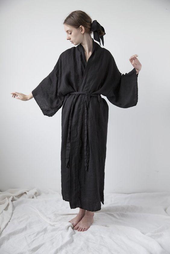 Linen Kimono - Black | Ovate