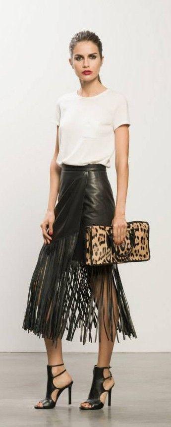 Women's Black Doublefaced Leather Wrap Skirt | Fringe skirt, A ...