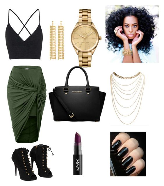 """#20"" by qveenkymm on Polyvore featuring LE3NO, Topshop, Giuseppe Zanotti, Lacoste, MICHAEL Michael Kors, R.J. Graziano and Wet Seal"