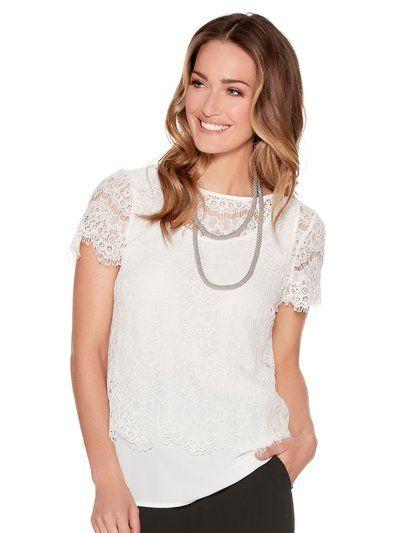 M&Co. Women Lace overlay top