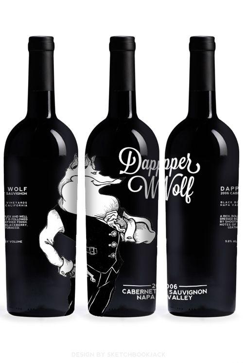 Black and white shrink sleeve design for wine bottles.  #etiquette #bouteille…