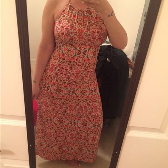 Maxi Dress Halter top full length maxi with cute elephant print, contemporary collection Forever 21 Dresses Maxi