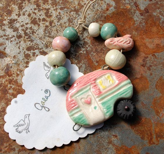 Happy Camper / Candy Tone Pink and Blue Ceramic Teardrop by gaea, $36.50