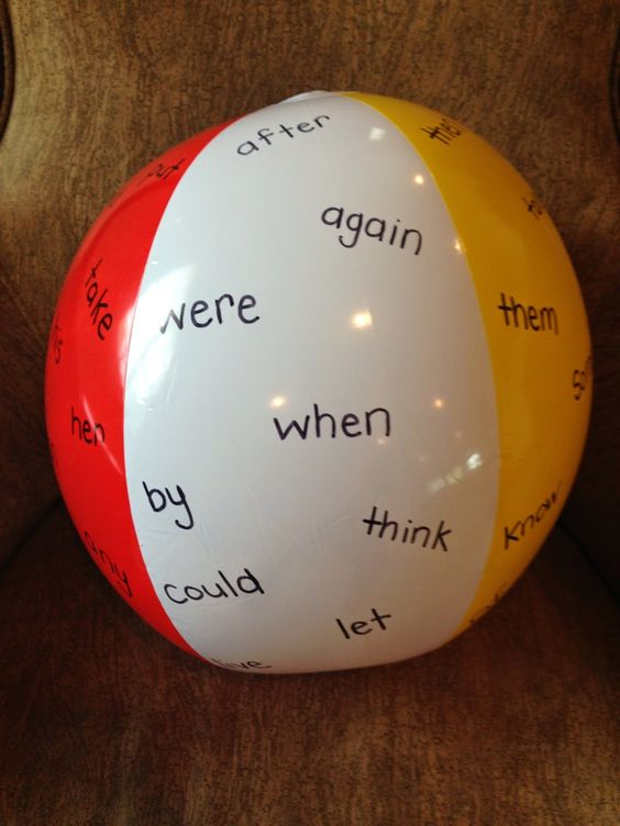 Sight Word Beach Ball: Use a Sharpie to write sight words on a beach ball.  Take kiddos outside and have them throw or volley the ball around.  Whoever catches the ball, must read all the sight words that their hands touch!  :):