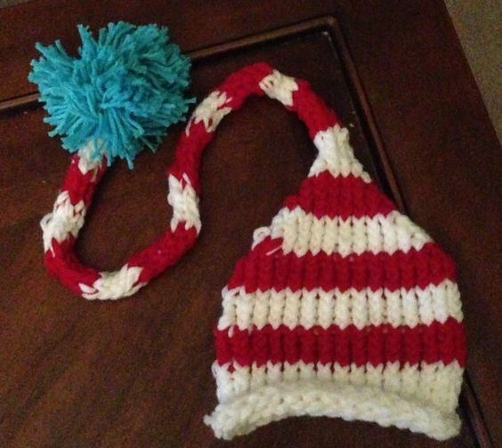 Elf Knitting Hearts : Dr seuss inspired elf pixie hat loom knitted