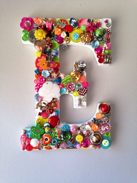 Monogram wall:  Buttons - in J.  Handmade mosaic letter E  wall letter by MosaicTreasureBox on Etsy, $60.00
