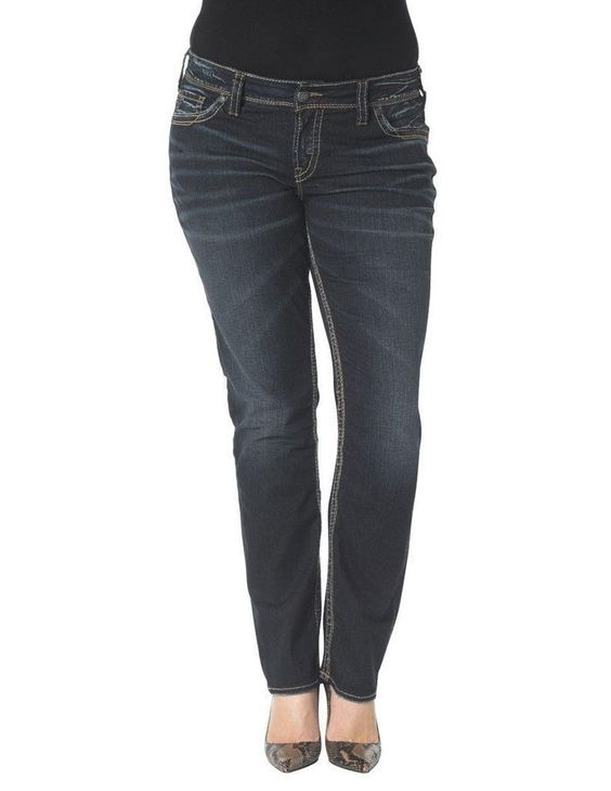Silver Jeans Denim Womens Suki Straight Plus Dark Wash W93413SAI467 | eBay