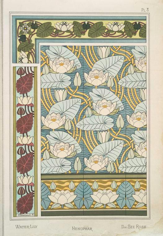 Eugène Grasset (Swiss, 1841-1917). La plante et ses applications ornementales. Water lily. Pl. 8. 1896.: