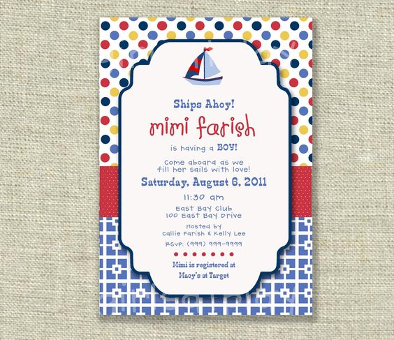 Baby Boy Shower Invitation Nautical Sailboat Boat Polka Dots Red Yellow Blue - Printable - by girlsatplay girls at play. $12.00, via Etsy.