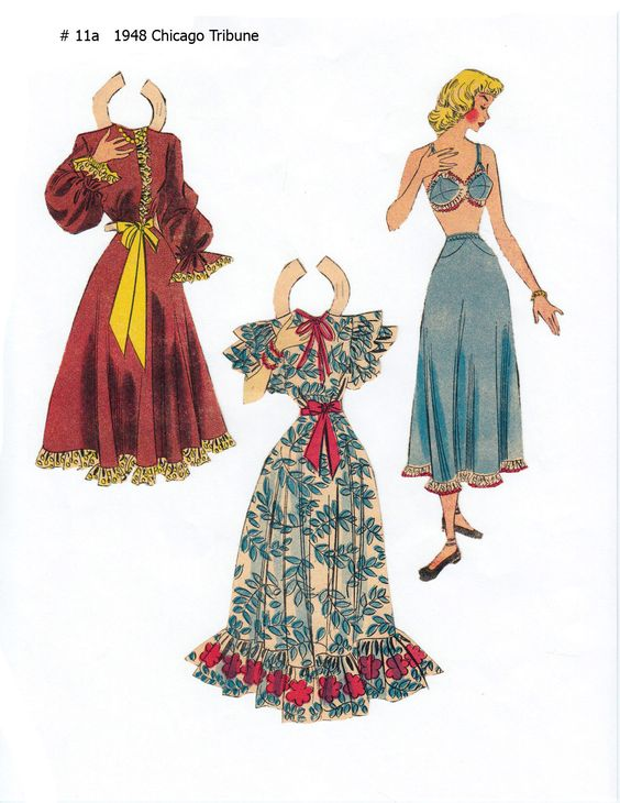 """#011 NO NAME 1948  Lucy Eleanor Leary's """"CHICAGO TRIBUNE"""" Newspaper Paper Dolls 1940s & 1950s 2 of 2"""