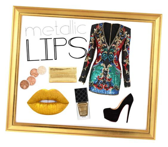 """Untitled #13"" by dzafic25 ❤ liked on Polyvore featuring beauty, Balmain, Nancy Gonzalez, Gucci, Lime Crime and metalliclips"